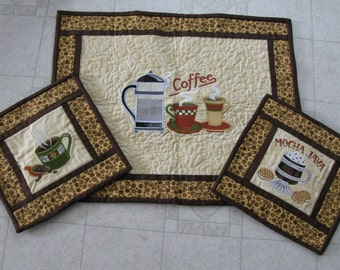 Coffee Design Embroidered & Quilted Table Topper and 2 Coordinating  Mug Rugs