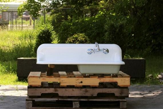 refinished 1938 antique 42 farm sink crane single basin wall mount cast iron porcelain kitchen. Black Bedroom Furniture Sets. Home Design Ideas
