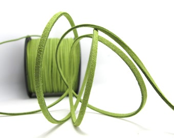 5 Yards 2mm Faux Suede Leather Cord|Yellow Green|Faux Leather String Jewelry Findings|Microfiber Craft Supplies