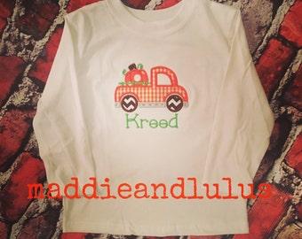 Truck with Pumpkin Appliquéd Shirt
