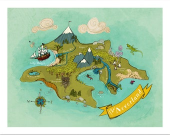 Neverland Map // Nursery Art Print // 8x10, 11x4 or 13x19