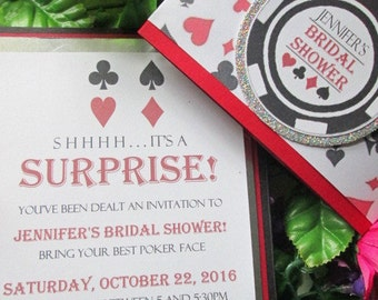 Poker Chip Vegas Style casino Surprise Bridal Shower invitation with belly band, can also be used for birthday
