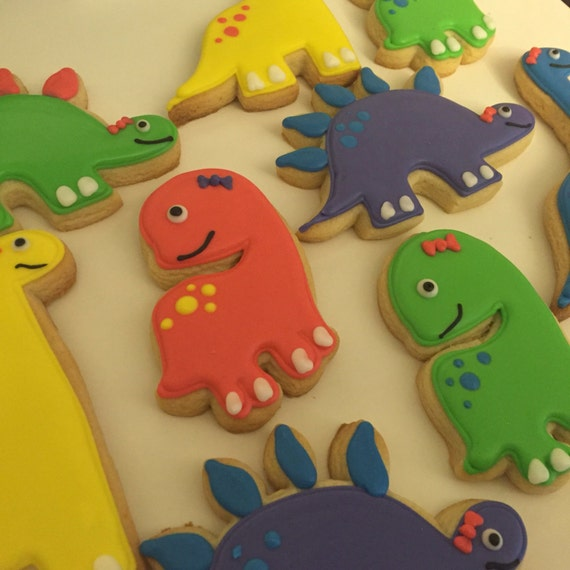 Girly dinosaur cookies
