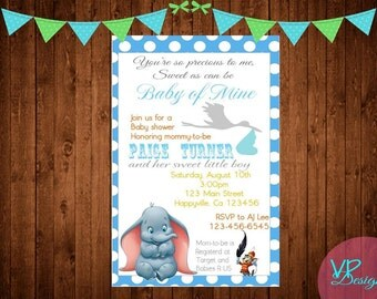 Baby Dumbo Baby Shower Invitation, Dumbo Invitation, Baby elephant PLUS FREE thank you card