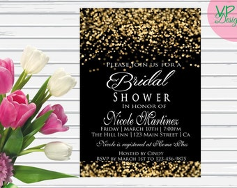 Black and Gold glitter Bridal Shower Invitation printed with envelopes, 25 4x6 prints.