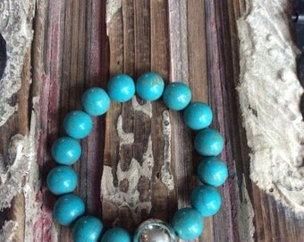 Turquoise Howlite and Sterling Silver Bead Bracelet