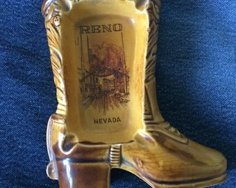 Vintage Souvenir Reno Nevada Cowboy Boot Ashtray