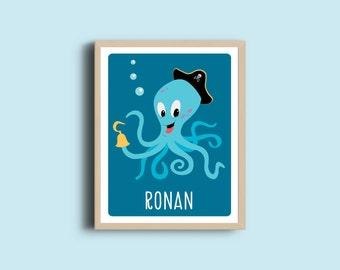 Personalized Kids Room Art Print - Octopus print - Kids Room Decor - Kids Name Art - Boys room decor - Pirate print
