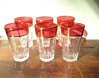 Ruby Red and gold shot glasses, vintage tall shot glasses, set of 6 cool barware, collectible flash red glasses, 2roads2take