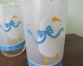 Geese drinking glasses, blue and white dot glassware, set of 3 geese with ribbons, geese wearing bows, farmhouse kitchen decor,