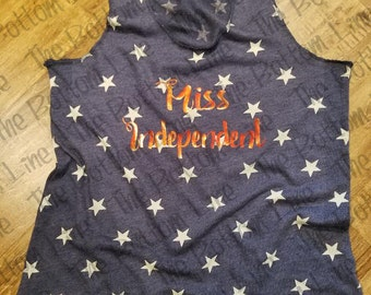 American Flag Tank Top//Miss Independent//4th of July//Memorial Day//Fourth of July//American Flag//Womens Racerback Tank Top