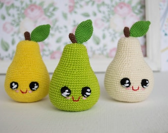 Crochet Pear baby toy , Plush eco-friendly play food toy, baby shower gift, amigurumi fruit kitchen decor