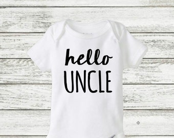 hello Uncle onesie, pregnancy announcement onesie