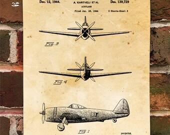 KillerBeeMoto: Duplicate of Original U.S. Patent Drawing For Vintage Heavy World War 2 Fighter