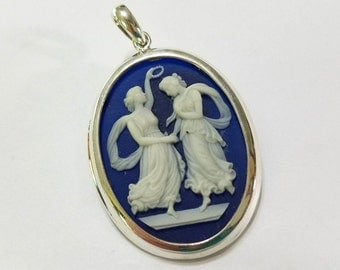 Cameo, Solid .925 Sterling Silver, Pendant, Necklace, Focal, Jewelry, Beading, Supply, Supplies, Vintage Style, Victorian Style, Two Graces