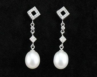 pearl earrings,rhinestone flower earrings,sterling silver 925 and crystal pearl earings,8mm drop pearl earrings,crystal dangle earring pearl