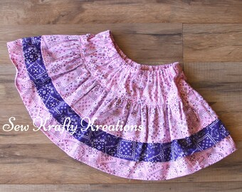 GIrl's Skirt - Pink Bandana with Purple Bandana - 3 Tier Skirt