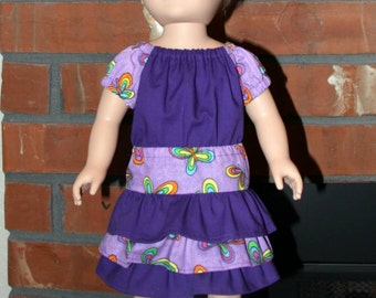 "Purple and Butterflies top and Skirt Set for 18"" doll like American Girl"