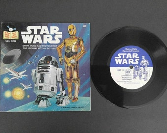 Vintage 1980's Star Wars 24 Page Read-Along Book And Record 33 1/3 RPM