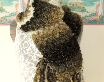Crochet Scarf Brown Camel Cream Thick Cozy Boyfriend Scarf Neutral Scarf Unisex SOFT