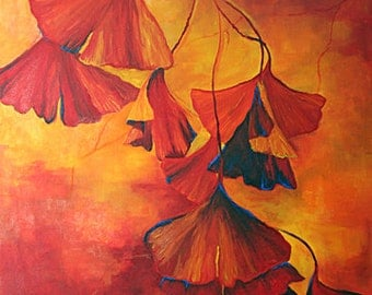Ginkgo oil painting