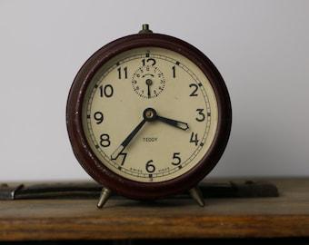 Vintage Teddy Swiss Made Alarm Clock 1950's