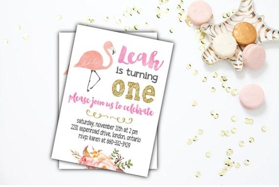 Printable Birthday Invitation, Girl's Birthday Party Invitation, Flamingo, Pink, Gold,  Sizes 4x6 or 5x7 #37