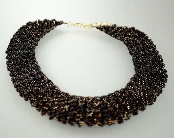 Crochet Metal Necklace, Black with Gold Cuts
