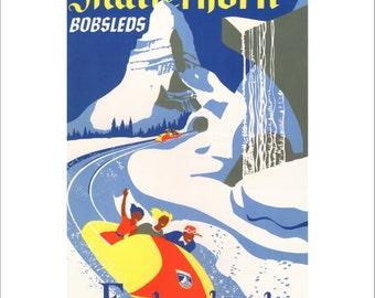 "Vintage Disney Parks Poster, Item 110M, 11"" x 14"" Matte, Mat, Disneyland Matterhorn Bobsleds, 1959 Mid Century"