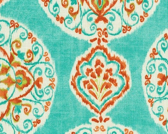 Coral and Aqua Medallion Fabric - By The Yard - Girl / Fabric / Modern