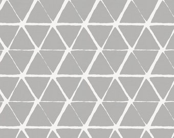 Gray Aztec Triangles Fabric - By The Yard - Girl / Boy / Neutral