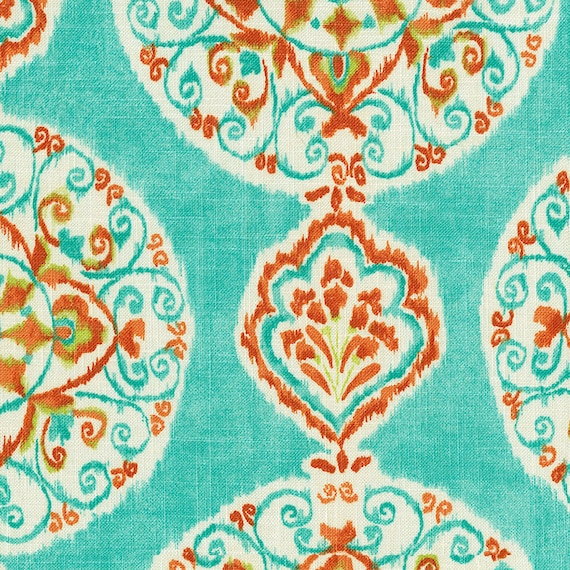 Coral and aqua medallion fabric by the yard girl fabric for Children s clothing fabric by the yard