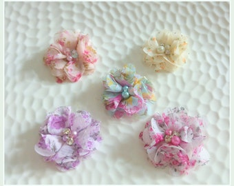 Chiffon Flower Hair Clips, Chiffon Flower Skinny Headband, Baby Girls, Toddlers, Girls ZBB