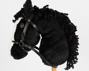 Snowy Mountain Ponies - Black Stick Horse with Leather Bridle - Stick Pony - Hobby Horse