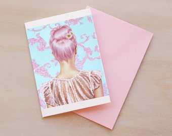 Pink, Fashion Illustration, Card, Greeting Card, High Fashion, Mini Art Print, Stripes, Paris, Pink Hair, Print, Redhead, Frenchy, Vintage