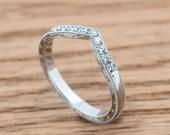 Chevron wedding band with pave diamonds and hand engraving