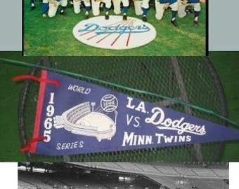 Original 1965, World Series pendant, Los Angeles Dodgers VS Minnisota Twins with stadium and baseball