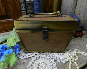 Vintage Mid Century Wood and Metal Box Purse - Handbag