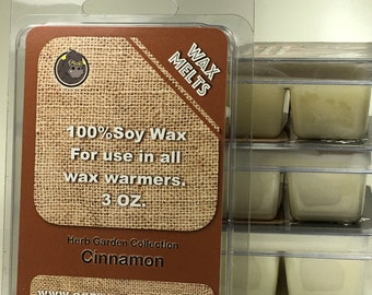 Wax Melts Highly Scented Clamshell Breakaway Cubes Herb Garden - Cinnamon, Lemongrass, Ginger, Rosemary, Vanilla, Lavender