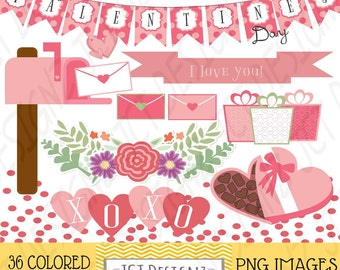 GREAT DEAL! Valentines Day Clipart, Valentines Clip Art, February Clipart, digital scrapbooking, valentines elements, february