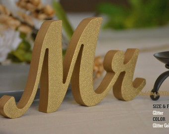 Glitter Mr and Mrs Wedding Signs, Mr & Mrs Wood Wedding Decoration, Glitter, Mr and Mrs Wedding Photo Prop, Glitter Mr and Mrs