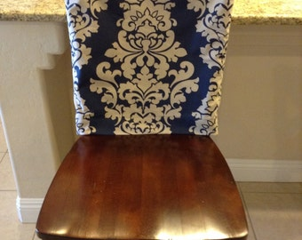 Indigo Fitted Chair Back Cover Ktichen Or Dining Room Slipcover Linen Blend Damask