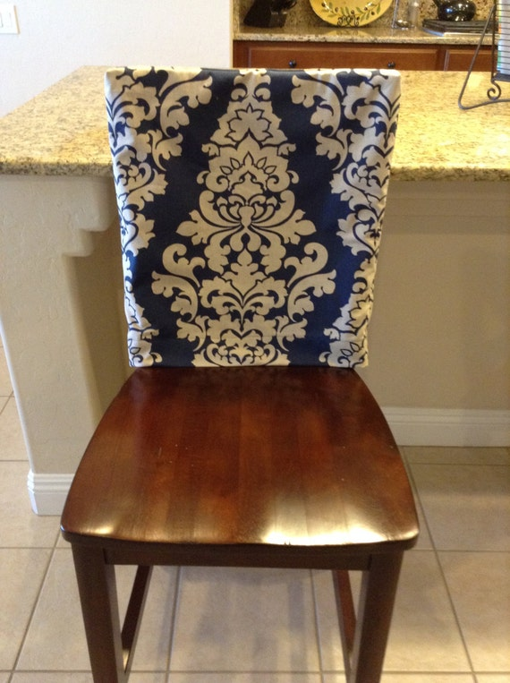 Indigo Fitted Chair Back Cover Ktichen Or Dining Room Chair