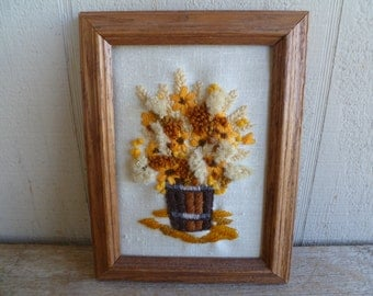 RESERVED    Needlepoint Embroidery Flowers Bucket Unframed Wall Art