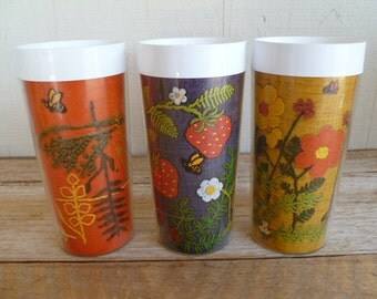 3 Thermo Serv Tapestry Tall Insulated Glasses