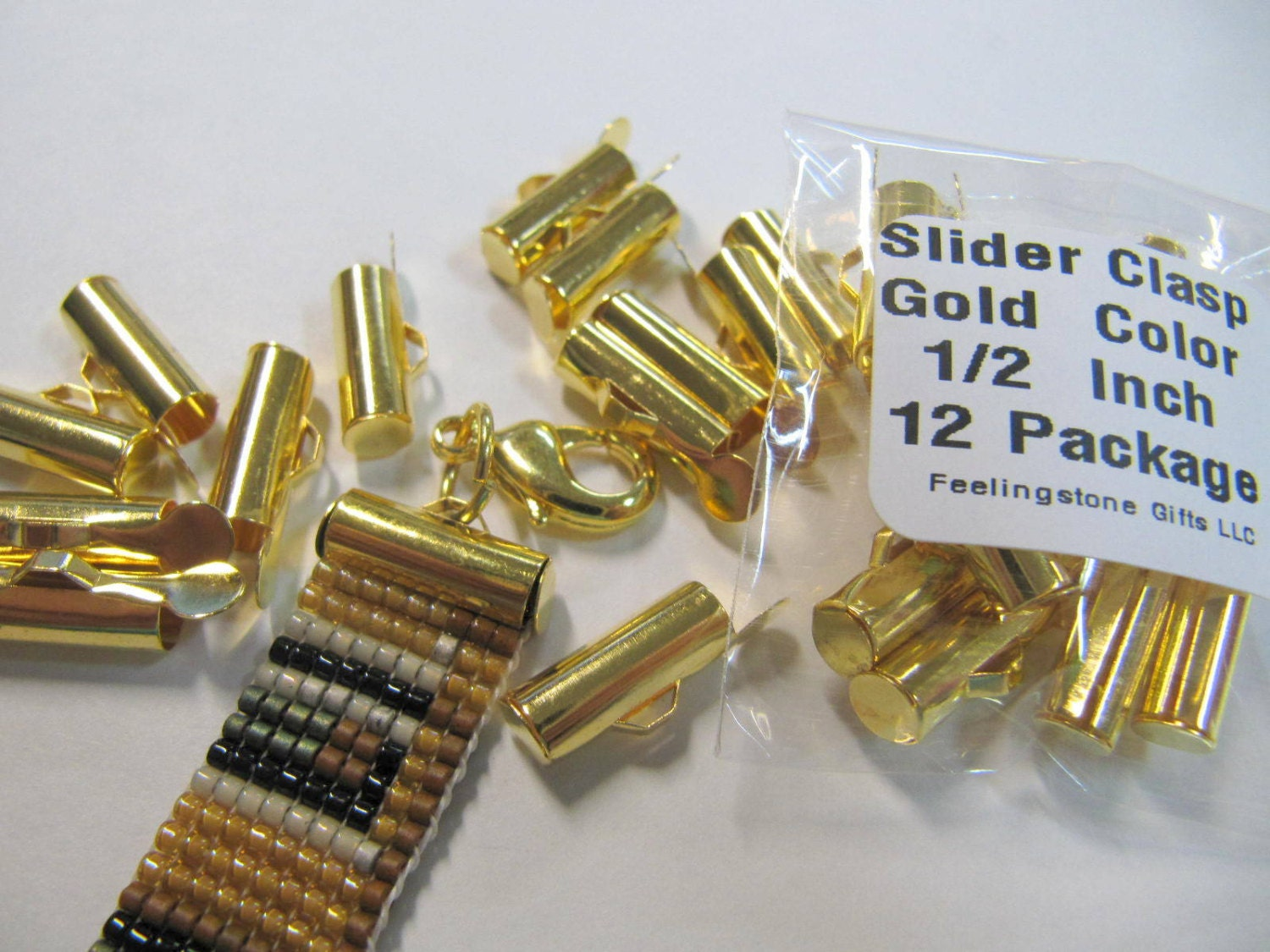 End Caps Slider Clasps, 1/2 Inch, Gold Color, Loom Bead Patterns, Loom Findings, 12 Pack, Look Is Clean and Neat