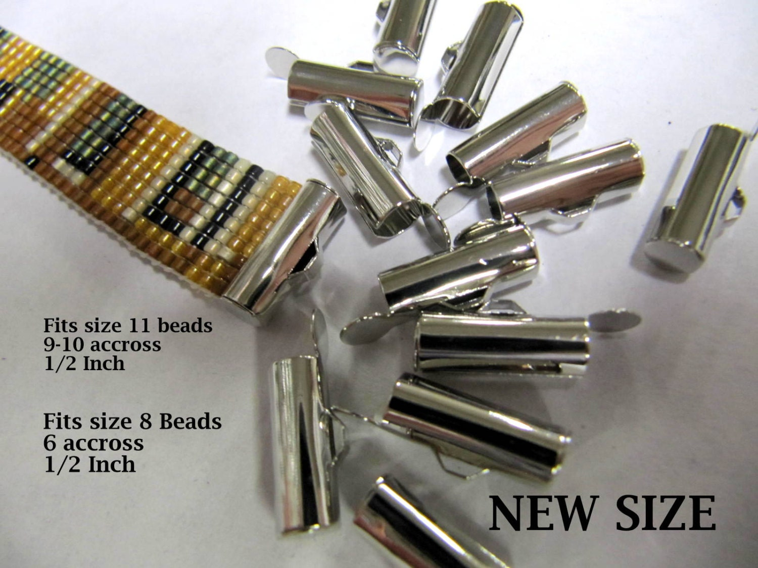 End Caps Slider Clasps, 1/2 Inch Silver, Loom Bead Patterns, Loom Findings, Silver Color, 12 Pack, Look Is Clean and Neat