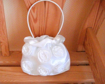 Satin Flower Girl Bag Purse , White Wedding Flower Girl Bridesmaid Communion