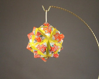 Pinwheel Coated Kusudama Origami Ornament Modular Ball Red Silver Yellow Sphere