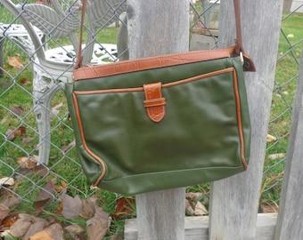 Vintage Genuine Leather Purse, Dark Green, Cross Body, Medium Size Ladies Long Shoulder Stap Handbag